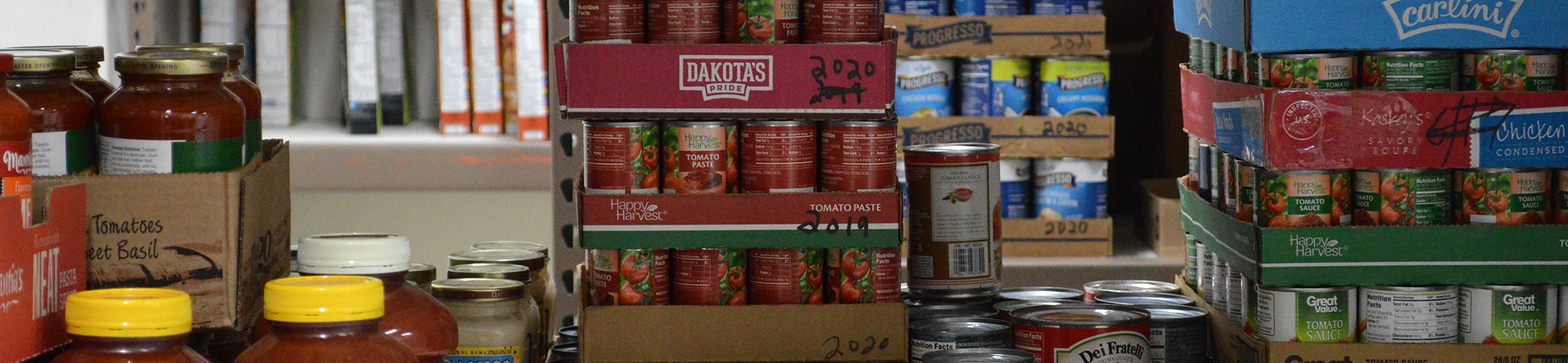 Shelves of Canned Good at Food Pantry